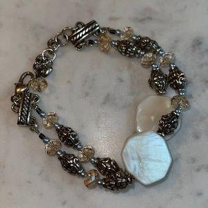 Brighton Swarovski Crystal Shell Silver Bracelet